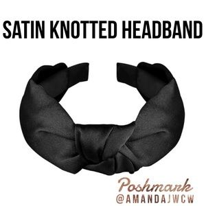 """Silk Cross Knot Twist Headband - Black - 1"""" Wide"""